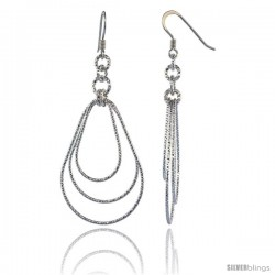 Sterling Silver Diamond Cut Tubing Dangling Teardrops Earrings, 2-1/4 in. tall