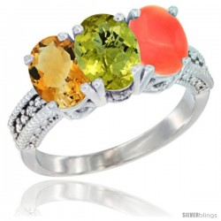 14K White Gold Natural Citrine, Lemon Quartz & Coral Ring 3-Stone 7x5 mm Oval Diamond Accent