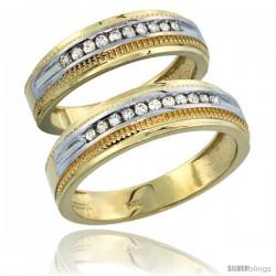14k Gold 2-Piece His (6.5mm) & Hers (6mm) Diamond Wedding Ring Band Set w/ 0.60 Carat Brilliant Cut Diamonds