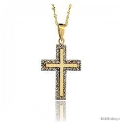 14k Gold 18 in. Chain & 7/8 in. (23mm) tall Diamond Latin Cross Pendant, w/ 0.28 Carat Brilliant Cut Diamonds