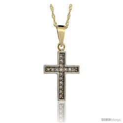 14k Gold 18 in. Chain & 11/16 in. (18mm) tall Small Diamond Latin Cross Pendant, w/ 0.10 Carat Brilliant Cut Diamonds