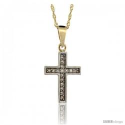 14k Gold 18 in. Chain & 11/16 in. (18mm) tall Small Diamond Latin Cross Pendant, w/ 0.10 Carat Brilliant Cut Diamonds