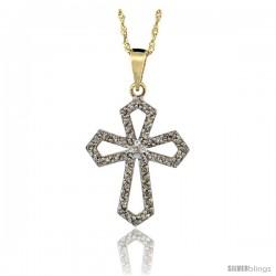 14k Gold 18 in. Chain & 7/8 in. (22mm) tall Diamond Gothic Cross Cut Out Pendant, w/ 0.31 Carat Brilliant Cut Diamonds