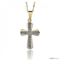 14k Gold 18 in. Chain & 13/16 in. (21mm) tall Diamond Clustered Cross Pendant, w/ 0.14 Carat Brilliant Cut Diamonds