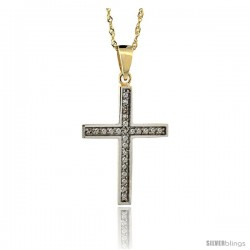 14k Gold 18 in. Chain & 15/16 in. (24mm) tall Diamond Latin Cross Pendant, w/ 0.15 Carat Brilliant Cut Diamonds