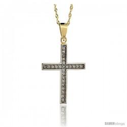 14k Gold 18 in. Chain & 15/16 in. (24mm) tall Diamond Latin Cross Pendant, w/ 0.15 Carat Brilliant Cut Diamonds