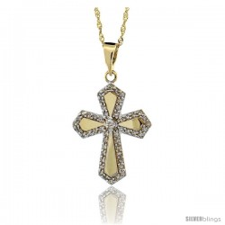 14k Gold 18 in. Chain & 7/8 in. (22mm) tall Diamond Gothic Cross Pendant, w/ 0.31 Carat Brilliant Cut Diamonds