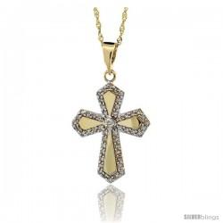 14k Gold 18 in. Chain & 7/8 in. (22mm) tall Diamond Gothic Cross Pendant, w/ 0.31 Carat Brilliant Cut Diamonds
