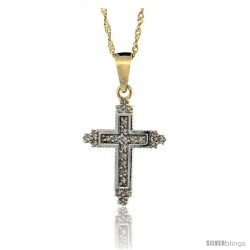 14k Gold 18 in. Chain & 3/4 in. (19mm) tall Tiny Diamond Fleury Cross Pendant, w/ 0.15 Carat Brilliant Cut Diamonds