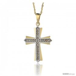 14k Gold 18 in. Chain & 1 in. (25mm) tall Diamond Cross Patonce Pendant, w/ 0.15 Carat Brilliant Cut Diamonds