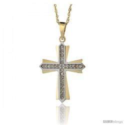 14k Gold 18 in. Chain & 1 in. (25mm) tall Diamond Cross Patonce Pendant, w/ 0.15 Carat Brilliant Cut Diamonds