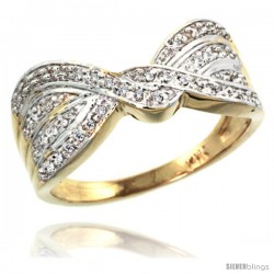 14k Gold Diamond Ribbon Ring w/ 0.15 Carat Brilliant Cut ( H-I Color VS2-SI1 Clarity ) Diamonds, 3/8 in. (9.5mm) wide