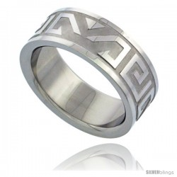 Surgical Steel Aztec Design Ring 8mm Wedding Band