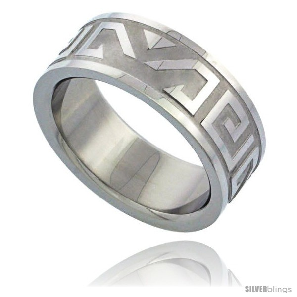 Surgical Steel Aztec Design Ring 8mm Wedding Band SilverBlings