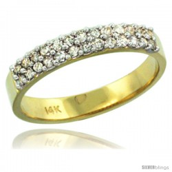 14k Gold 2-Row Diamond Ring Band w/ 0.31 Carat Brilliant Cut ( H-I Color SI1 Clarity ) Diamonds, 1/8 in. (3.5mm) wide