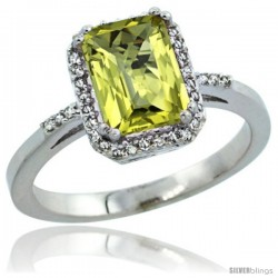 Sterling Silver Diamond Natural Lemon Quartz Ring 1.6 ct Emerald Shape 8x6 mm, 1/2 in wide -Style Cwg27129