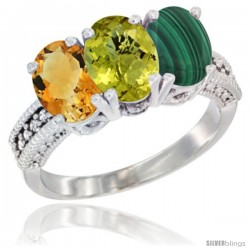 14K White Gold Natural Citrine, Lemon Quartz & Malachite Ring 3-Stone 7x5 mm Oval Diamond Accent