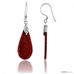 "Sterling Silver Teardrop Natural Red Coral Earrings 1 3/16"" (30 mm)"