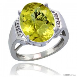 Sterling Silver Diamond Natural Lemon Quartz Ring 9.7 ct Large Oval Stone 16x12 mm, 5/8 in wide