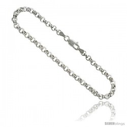 Sterling Silver Italian Rolo Chain 4mm Nickel Free