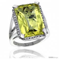 Sterling Silver Diamond Natural Lemon Quartz Ring 14.96 ct Emerald Shape 18x13 mm Stone, 13/16 in wide