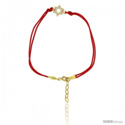 6.5 in. Red Silk Bracelet Sterling Silver (Gold Plated) Jeweled Star of David Charm, 1 in. Extension