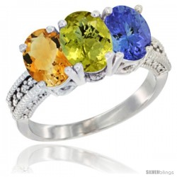 14K White Gold Natural Citrine, Lemon Quartz & Tanzanite Ring 3-Stone 7x5 mm Oval Diamond Accent