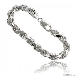 Sterling Silver Italian Rope Chain Necklaces & Bracelets 7 mm Diamond-cut Handmade Nickel Free