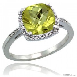 Sterling Silver Diamond Natural Lemon Quartz Ring 2.08 ct Cushion cut 8 mm Stone 1/2 in wide