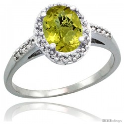 Sterling Silver Diamond Natural Lemon Quartz Ring Oval Stone 8x6 mm 1.17 ct 3/8 in wide