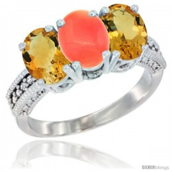 14K White Gold Natural Coral & Citrine Sides Ring 3-Stone 7x5 mm Oval Diamond Accent