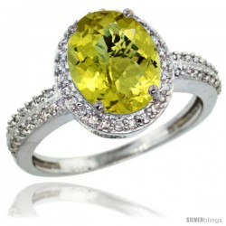 Sterling Silver Diamond Natural Lemon Quartz Ring Oval Stone 10x8 mm 2.4 ct 1/2 in wide
