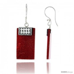 "Sterling Silver Rectangular Natural Red Coral Earrings 1 1/16"" (27 mm)"