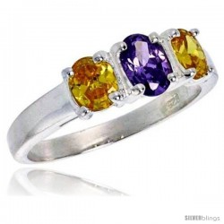 Sterling Silver .47 Carat Size Brilliant Cut Colored Cubic Zirconia Bridal Ring