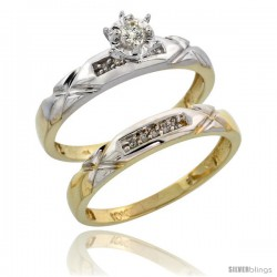 10k Yellow Gold Ladies' 2-Piece Diamond Engagement Wedding Ring Set, 1/8 in wide