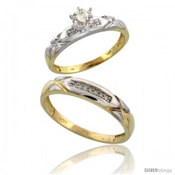 10k Yellow Gold 2-Piece Diamond wedding Engagement Ring Set for Him & Her, 3.5mm & 4mm wide