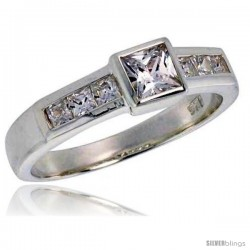 Sterling Silver .40 Carat Size Princess Cut Cubic Zirconia Bridal Ring