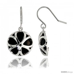 "Round Black Onyx Dangle Earrings in Sterling Silver, 11/16"" (18 mm) tall"