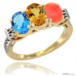 10K Yellow Gold Natural Swiss Blue Topaz, Citrine & Coral Ring 3-Stone Oval 7x5 mm Diamond Accent