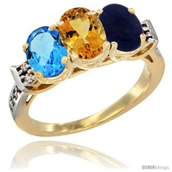 10K Yellow Gold Natural Swiss Blue Topaz, Citrine & Lapis Ring 3-Stone Oval 7x5 mm Diamond Accent