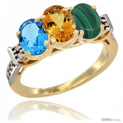 10K Yellow Gold Natural Swiss Blue Topaz, Citrine & Malachite Ring 3-Stone Oval 7x5 mm Diamond Accent