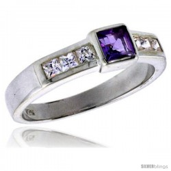 Sterling Silver .40 Carat Size Princess Cut Amethyst Colored CZ Bridal Ring