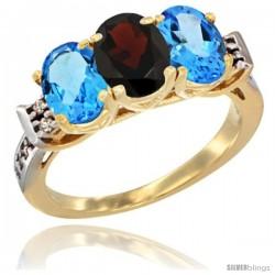 10K Yellow Gold Natural Garnet & Swiss Blue Topaz Sides Ring 3-Stone Oval 7x5 mm Diamond Accent