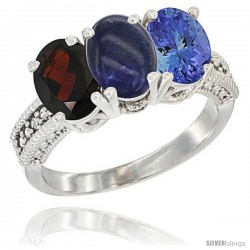 14K White Gold Natural Garnet, Lapis & Tanzanite Ring 3-Stone 7x5 mm Oval Diamond Accent