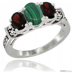 14K White Gold Natural Malachite & Garnet Ring 3-Stone Oval with Diamond Accent