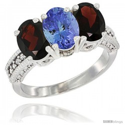 14K White Gold Natural Tanzanite & Garnet Sides Ring 3-Stone 7x5 mm Oval Diamond Accent