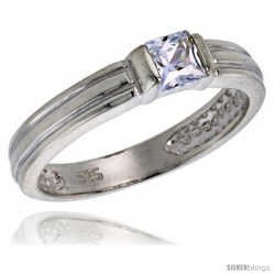 Sterling Silver .40 Carat Size Princess Cut Cubic Zirconia Solitaire Bridal Ring