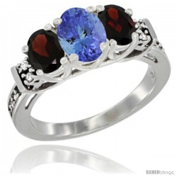 14K White Gold Natural Tanzanite & Garnet Ring 3-Stone Oval with Diamond Accent