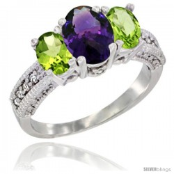 14k White Gold Ladies Oval Natural Amethyst 3-Stone Ring with Peridot Sides Diamond Accent