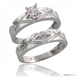 10k White Gold Diamond Engagement Rings Set 2-Piece 0.08 cttw Brilliant Cut, 3/16 in wide